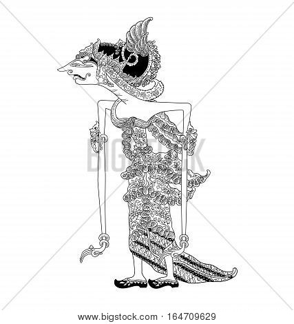Batari Wilutama, a character of traditional puppet show, wayang kulit from java indonesia.