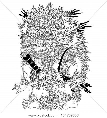 Wisnu Triwikrama, a character of traditional puppet show, wayang kulit from java indonesia.