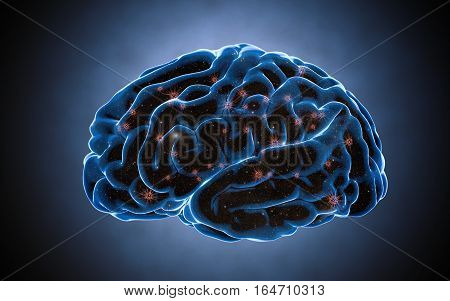 Brain impulses. Neuron system. Human anatomy. transferring pulses and generating information. 3d rendering
