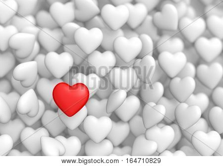 Red heart shape object is different from the overturn white ones