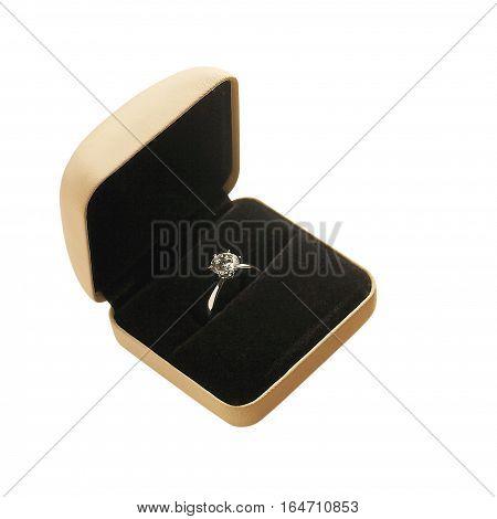 Beige ring case on white back ground