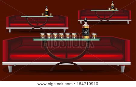 Interior bar, restaurant. Decorative red sofa. Restaurant, brasserie, pub, restaurant. Liquor cognac, brandy, whiskey. Interior pattern. Glass with ice. Vector illustration