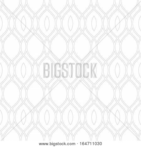 Seamless ornament. Modern geometric pattern with repeating wavy lines. Light silver pattern