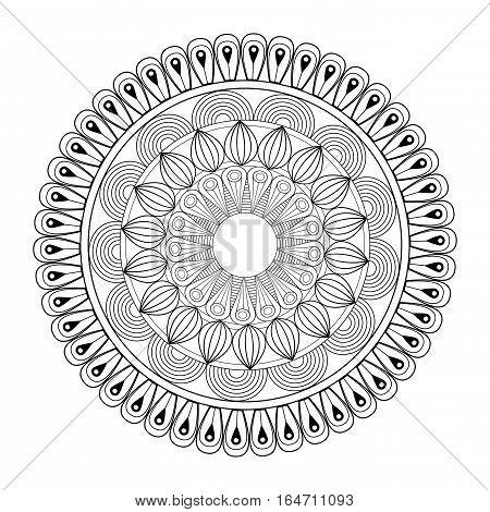 mandala spiritual hinduism outline vector illustration eps 10
