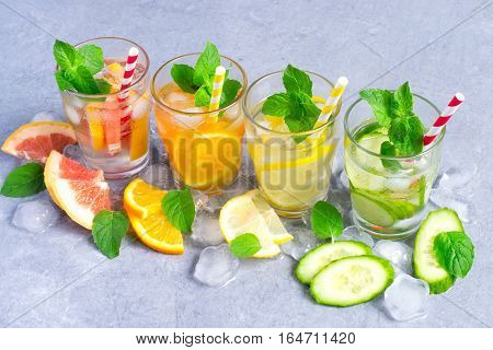 Set of infused water for detox on a gray background