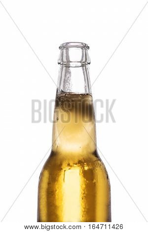 Close-up bottle of frozen lager beer, isolated on white background
