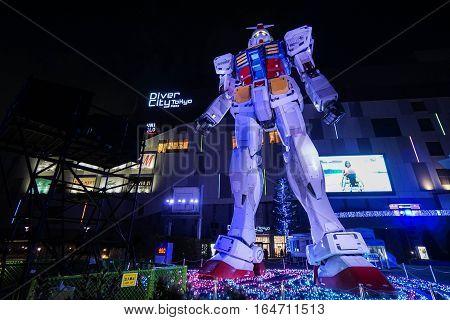 Gundam model at night taken at Odaiba Tokyo on 3 December 2016