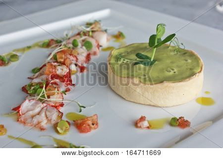 Lobster and green pea tart with fresh vegetable