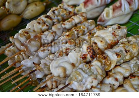 Grilled squid's egg sell as a stick