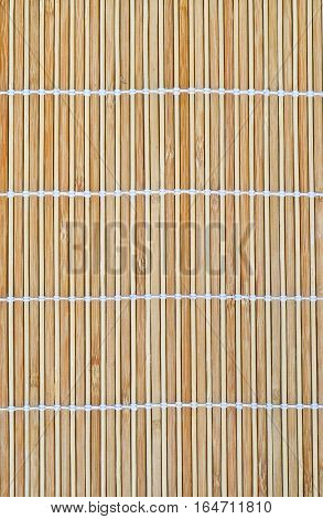 Closup dry bamboo place mat texture background