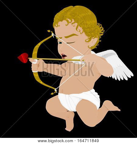 Isolated  flying Cupid on Black background for happy valentine'sday