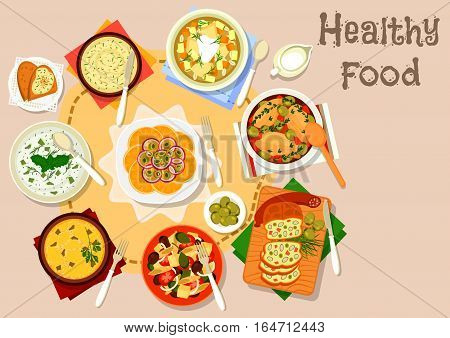 Healthy dishes with olives and cornichon icon of cream soup, rice casserole and sour soup with pickled cucumbers, meatloaf, baked chicken, orange salad, bean pate and potato fish salad with olives