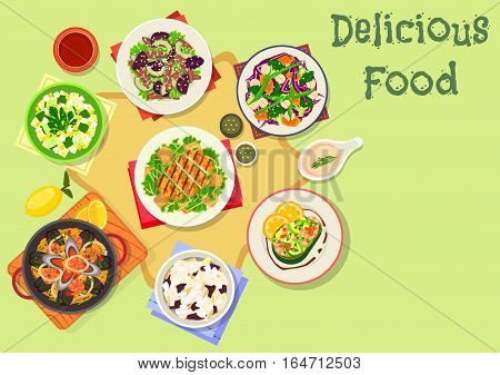 Popular salad icon of grilled chicken salad with cheese, avocado stuffed with shrimp salad, thai beef salad, vegetable bean salad, seafood paella with pasta, potato egg and baked cauliflower salad
