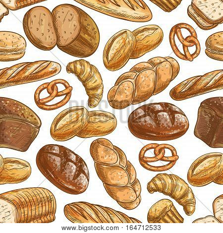 Bakery bread and pastry dessert seamless pattern of sketched healthy rye bread, wheat long loaf, baguette, croissant, cupcake, burger bun, challah, toast, pie and pretzel