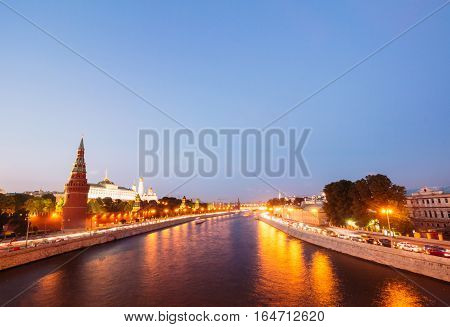 The beautiful city of Moscow landscape with river. In the background of the Government House and the Kremlin churches.