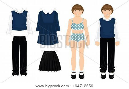 Paper doll with formal clothes for school and college. Girl pupil or student in uniform. Body template.