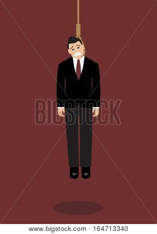 Hanged businessman. Business concept vector cartoon illustration