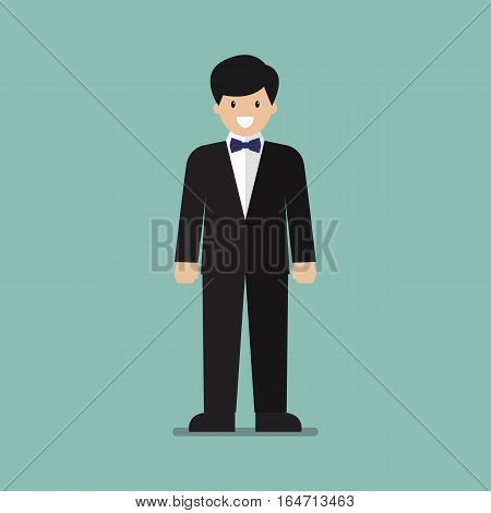 Young man in tuxedo. Vector cartoon illustration