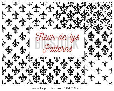 Black and white fleur-de-lis floral seamless pattern with set of french royal lily flowers with victorian leaf scrolls. Wallpaper, vintage interior accessory design