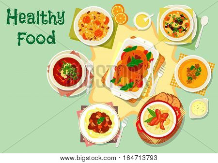 Meat and mushroom dishes icon with beef portobello pasta, chicken baked with apple, rice pilaf with dried fruit, potato bacon and bean broccoli soup, pumpkin cream soup with nuts, mushroom barley soup