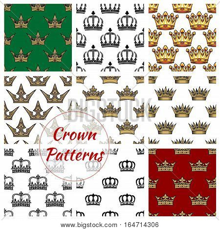 Crown seamless pattern set. Royal background with crown of king, princess diadem and queen tiara. Monarchy theme, scrapbook page backdrop design