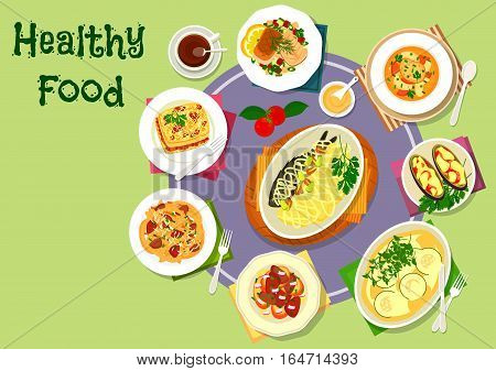 Nutritious dinner with meat and fish icon of vegetable salad with fish, pasta topped with liver onion stew, fish soup, liver toast, eggplant and potato casserole with meat and cheese, baked trout