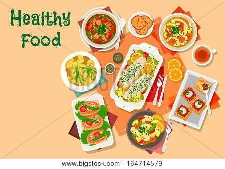 Mushroom and fish lunch dishes icon with vegetable fish salad, chicken leg stuffed with mushroom rice, honey agaric noodle soup, cabbage pork soup, potato with ginger, baked cod, mushroom caviar toast