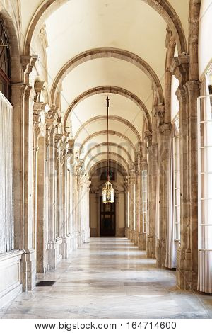 The Beautiful Passage With Arches In The Royal Palace Of Madrid In Spain