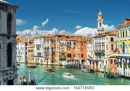 The Grand Canal And Colorful Facades Of Old Houses, Venice