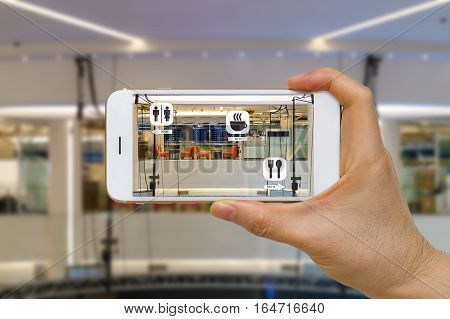 Augmented reality or AR for navigation concept application in mall looking for coffee shop restaurant and restroom.