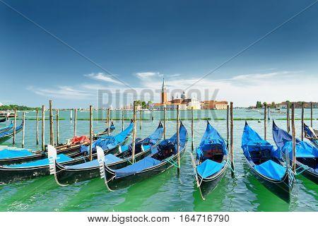 View Of Gondolas On The Venetian Lagoon In Venice, Italy