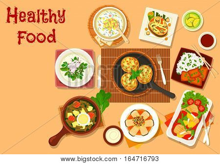 Chinese cuisine fish dishes icon served with vegetables and rice, salmon steak with grilled veggies, fish cutlet, russian cold soup with rye bread beverage and yogurt, sorrel soup with egg