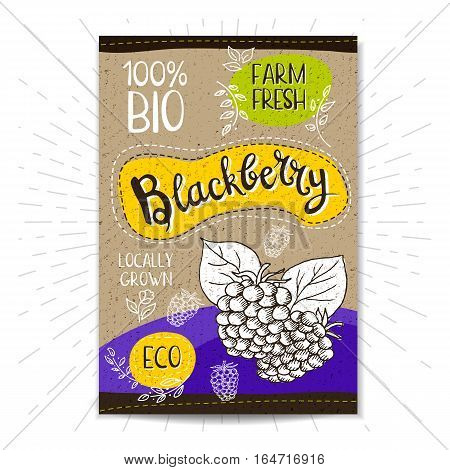 Colorful label in sketch style, food, spices, cardboard textured background. Blackberry Fruits. Bio, eco, farm, fresh. locally grown. Hand drawn vector illustration