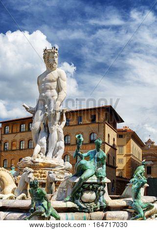 The Fountain Of Neptune On The Piazza Della Signoria In Florence