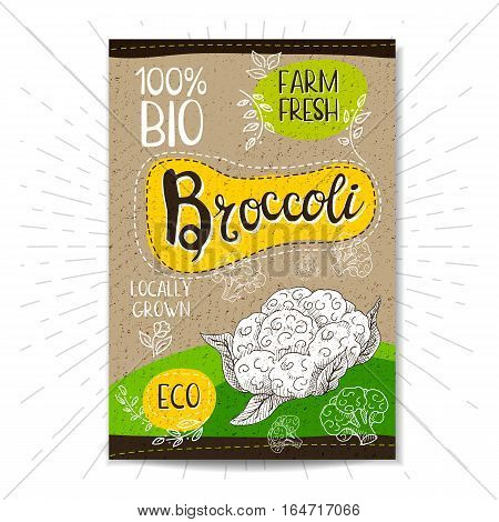 Colorful label in sketch style, food, spices, cardboard textured background. Broccoli Vegetables. Bio, eco, farm, fresh. locally grown. Hand drawn vector illustration