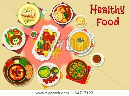 Tasty soup and meat dishes icon with beef vegetable soup, rice pie with meat and mushroom, tomato meat soup, pork baked with eggplant, lamb soup, beef steak, bean nuts soup, zucchini cream soup