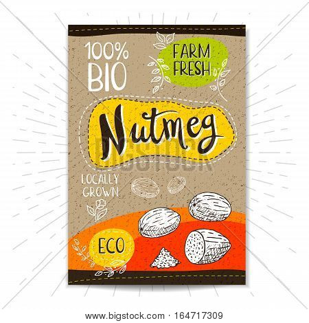 Colorful label in sketch style, food, spices, cardboard textured background. Nutmeg Nuts. Bio, eco, farm, fresh. locally grown. Hand drawn vector illustration