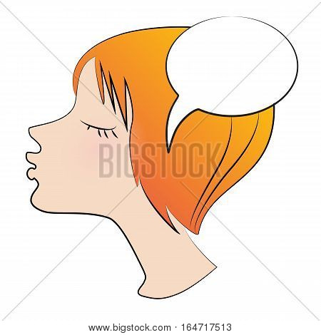 Portrait of red-haired girl with closed eyes and Speech balloon on a white background