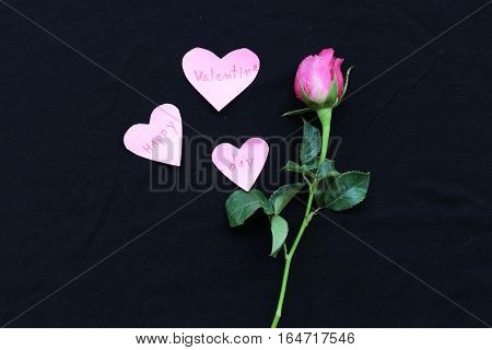 happy valentine day words message in hearts and rose on background black