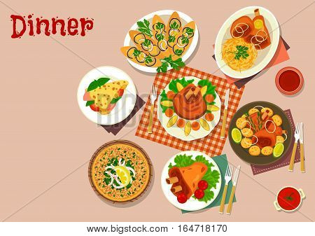 Pork dishes with snack food icon of baked and boiled pork shank with cabbage and potato, pancake with vegetables and ham, open meat pie, eggplant cheese sandwiches