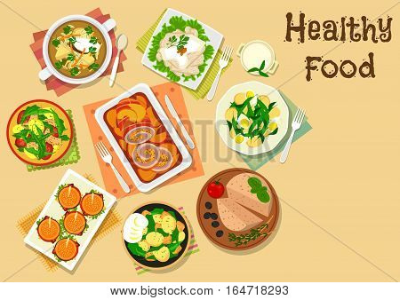 Appetizers and potato salad icon of hamburgers, meat roll with apple, chicken with sauce, potato salads with tomato, egg, sausage, tuna and bean, chicken liver pate with olive, beef soup with pickles