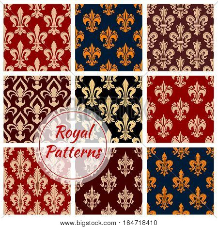 Royal flowery fleur-de-lis patterns set. Vector flourish fleur-de-lys background of decorative flower ornament. Luxury floral ornate, damask pattern decoration tiles