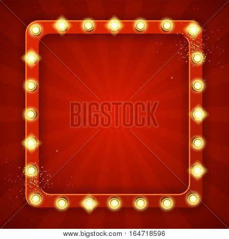 Retro frame with glowing lamps. Vector illustration with shining lights in vintage style. Label for winners of poker, cards, roulette and lottery.