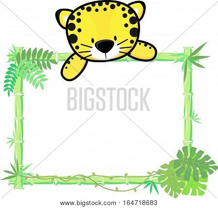 cute baby jaguar on blank board with bamboo frame isolated on white background