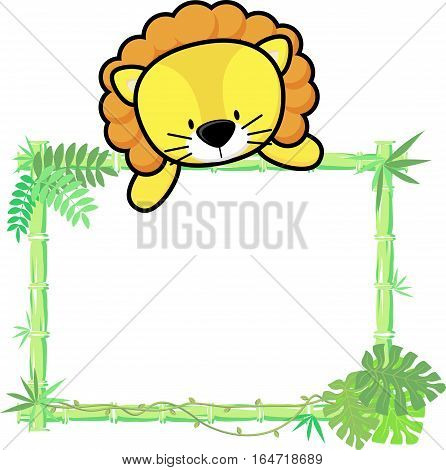 cute baby lion on blank board with bamboo frame isolated on white background