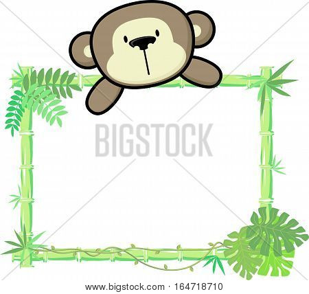 cute baby monkey on blank board with bamboo frame isolated on white background