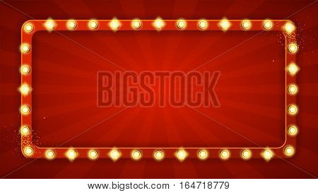 Red rectangular retro frame with glowing lamps. Vector illustration with shining lights in vintage style. Label for winners of poker, cards, roulette and lottery.
