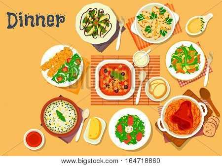 Italian and german cuisine dishes icon with tomato, cheese and rice soup, stuffed pasta with mushroom and cheese, baked pork shank with cabbage, arugula salad with chicken, tomato, tuna, bean, avocado