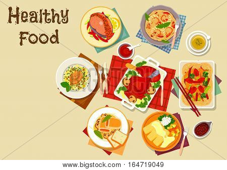 Seafood and meat dishes with vegetables icon of salmon with veggies, chicken roll with cheese, ham, thai chicken noodle, pork chop with cabbage, shrimp pasta, baked fish in cream sauce and turkey leg