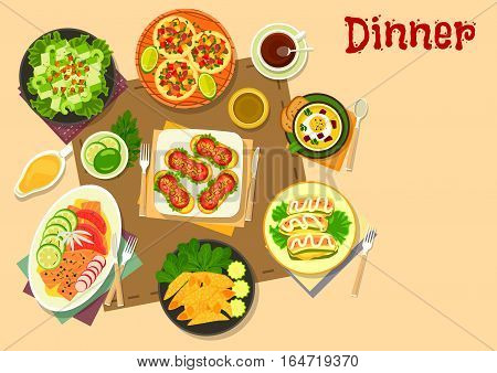 Popular appetizers icon of mexican salad on pita bread and meat tortilla rolls, tomato sausage sandwiches, vegetable soup with egg, salmon and grapefruit snack, celery salad, zucchini with cheese